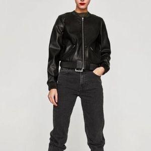 Zara. Chic basic vegan leather bomber jacket